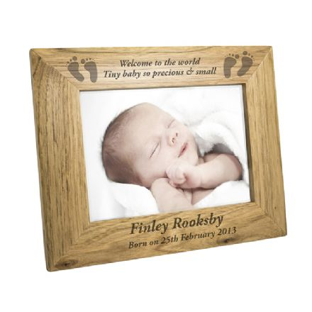 Personalised Baby 5x7 Wooden Photo Frame
